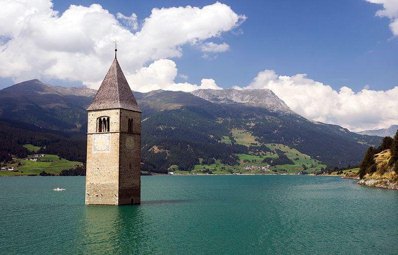 Church-Tower-of-Campanile-di-Curon-in-Lago-di-Resia-Italy